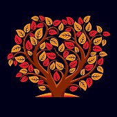 Vector illustration of tree with orange and red leaves