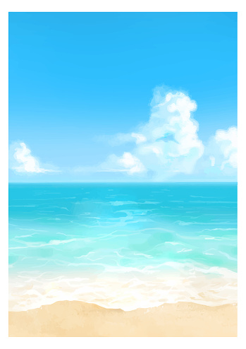 Vector illustration of tropical beach in daytime.