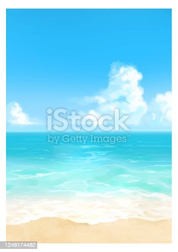 istock Vector illustration of tropical beach in daytime. 1249174482