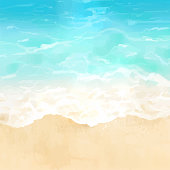 Vector illustration of tropical beach in daytime. Hand painted watercolor background.