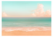 istock Vector illustration of tropical beach in morning. 1249173789