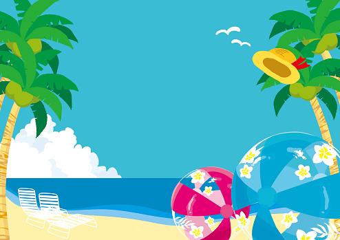 Vector illustration of Tropical beach landscape.