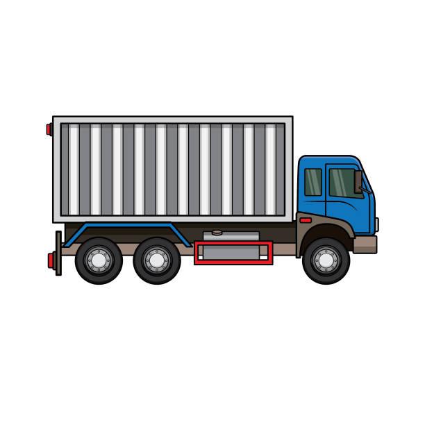 ilustraciones, imágenes clip art, dibujos animados e iconos de stock de ilustración vectorial de camión aislado sobre fondo blanco para niños libro de trabajo de actividad para colorear/ libro de trabajo. - suministros escolares
