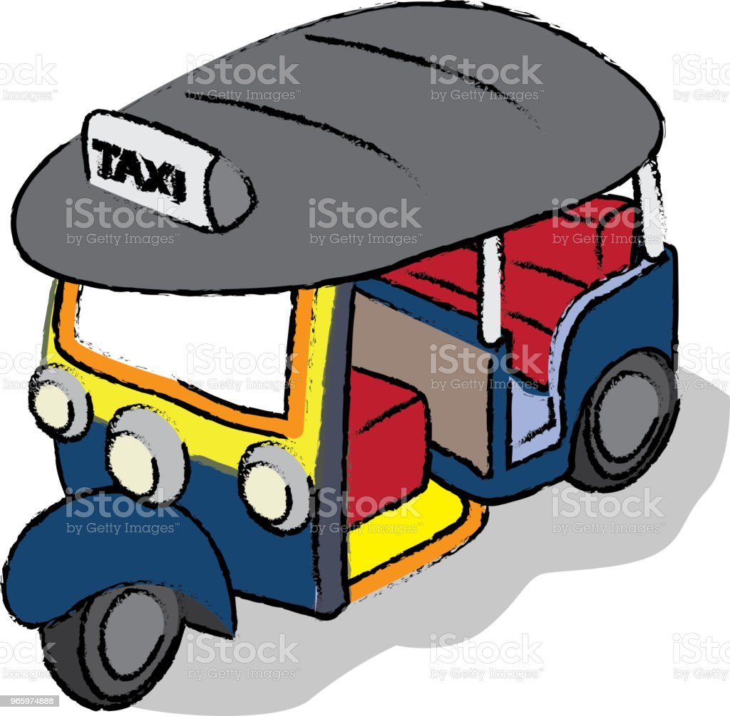 Vector illustration of  TukTukTaxi - Векторная графика Автомобиль роялти-фри