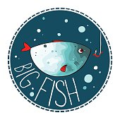 Vector illustration of turquoise fish with red fins and tail. Object in a circle shape on a dark background. Cartoon style. Imitation of watercolor.