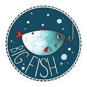 Vector illustration of turquoise fish