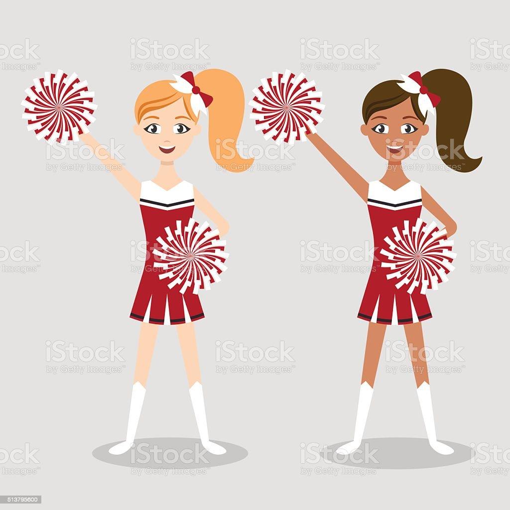Vector illustration of two cheerleders vector art illustration