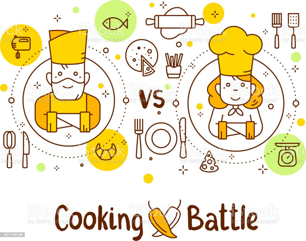 Vector illustration of two chief cook with food icons and inscription. Creative cooking battle concept: man vs woman on white background. vector art illustration