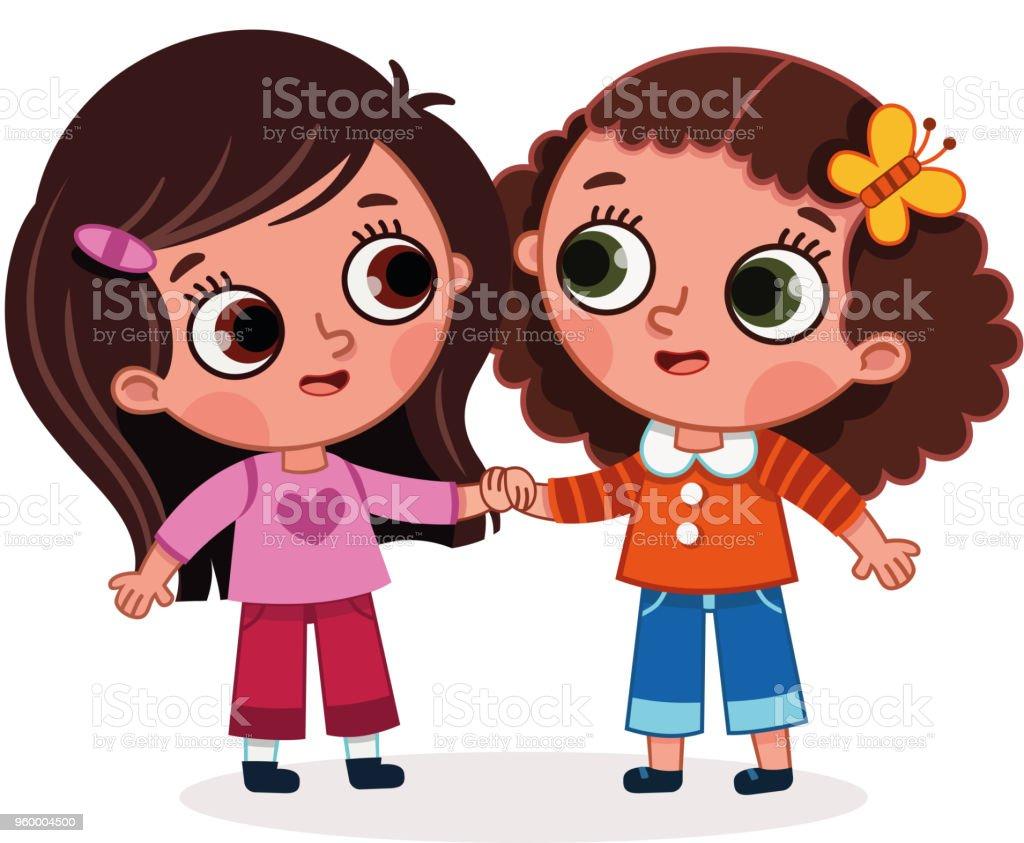 Vector illustration of two cute girls holding hands. vector art illustration