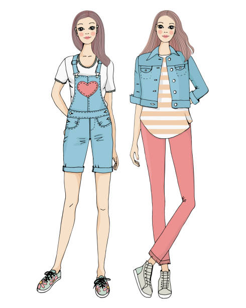 Best Twin Sisters Illustrations, Royalty-Free Vector