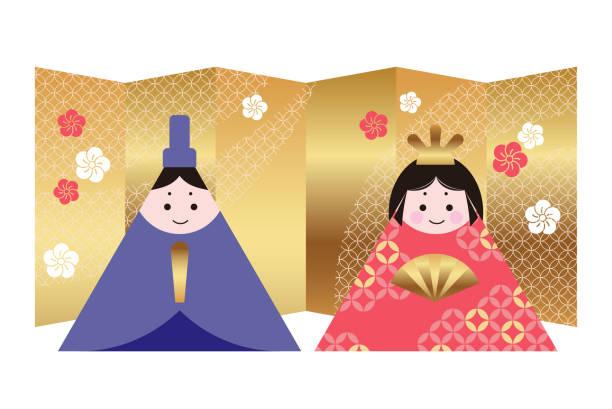 """illustrazioni stock, clip art, cartoni animati e icone di tendenza di vector illustration of two dolls for the japanese """"hinamatsuri"""", the doll festival. - pesche bambino"""