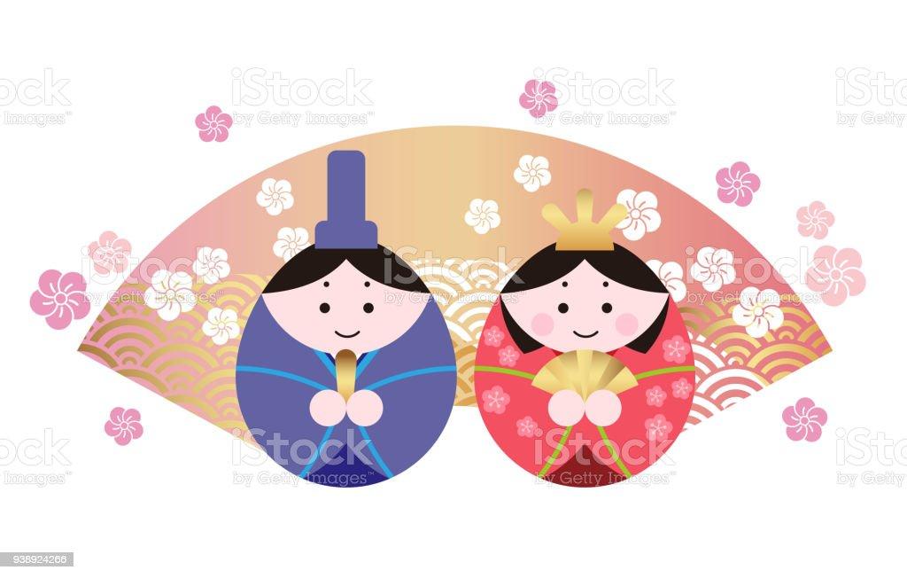 日本語ひなまつりひな祭りの二つの人形のベクトル イラスト おとぎ話の