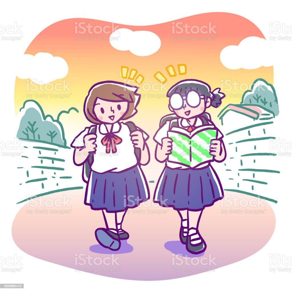 メガネ本を読んで後夜の学校一人の女の子ホーム歩きながらチャット小学生