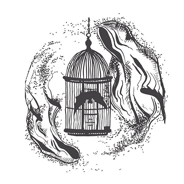 illustrations, cliparts, dessins animés et icônes de vector illustration of two ghosts flying around bird cages - cage animal nuit