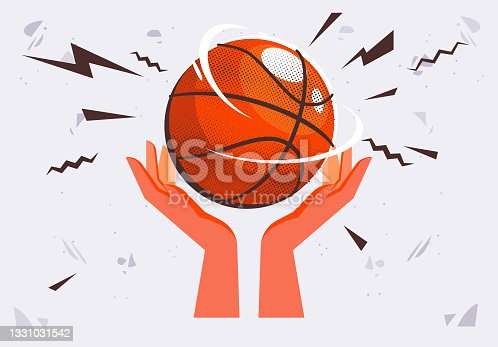 istock Vector illustration of two hands holding a basketball ball on their palms 1331031542