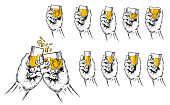 Vector illustration of two hands raised stemware and a set of stemware of different shapes