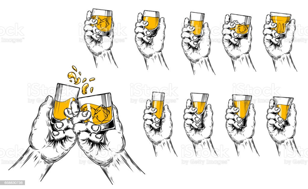 Vector illustration of two hands raised stemware and a set of stemware of different shapes - illustrazione arte vettoriale