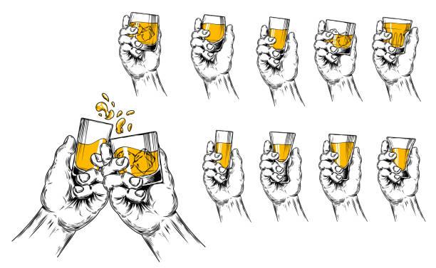 2 つの手のベクトル イラスト上げた脚付きグラスとさまざまな形の脚付きグラスのセット - アルコール飲料点のイラスト素材/クリップアート素材/マンガ素材/アイコン素材