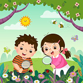 istock Vector illustration of two kids looking through magnifying glass at ladybugs on plants. Children observing nature. 1190122713