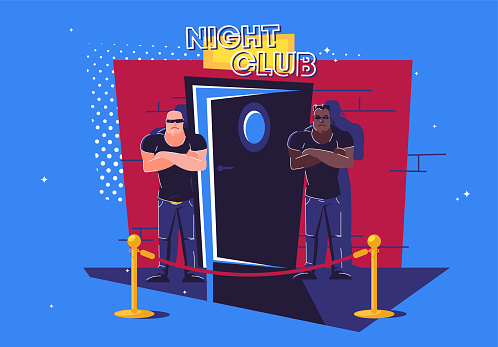 Vector illustration of two security guards standing at the entrance to a slightly open door to a night club, a barrier in front of the entrance, face control