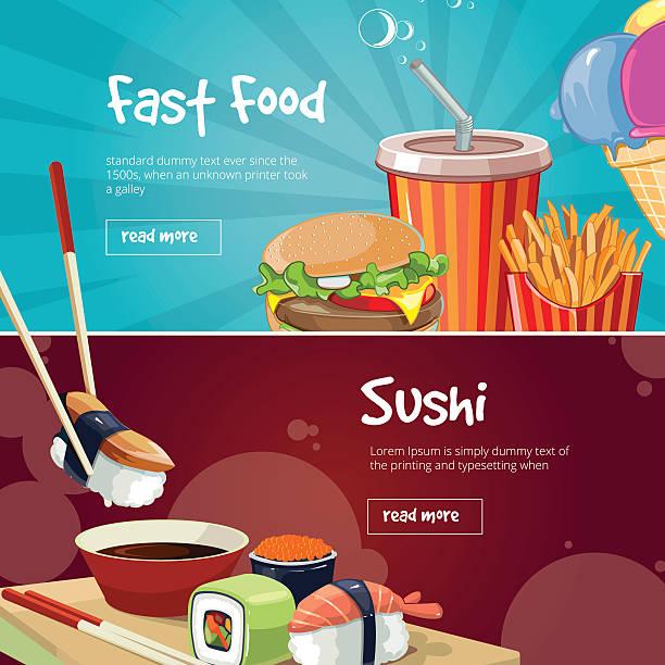 vektor abbildung eines zwei web-banner mit fast-food-bilder - kobe stock-grafiken, -clipart, -cartoons und -symbole