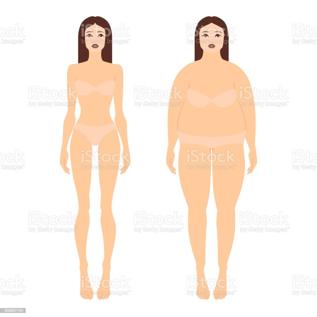 382787eee6 Vector illustration of two women with different figures in underwear. Female  full body shape in flat style