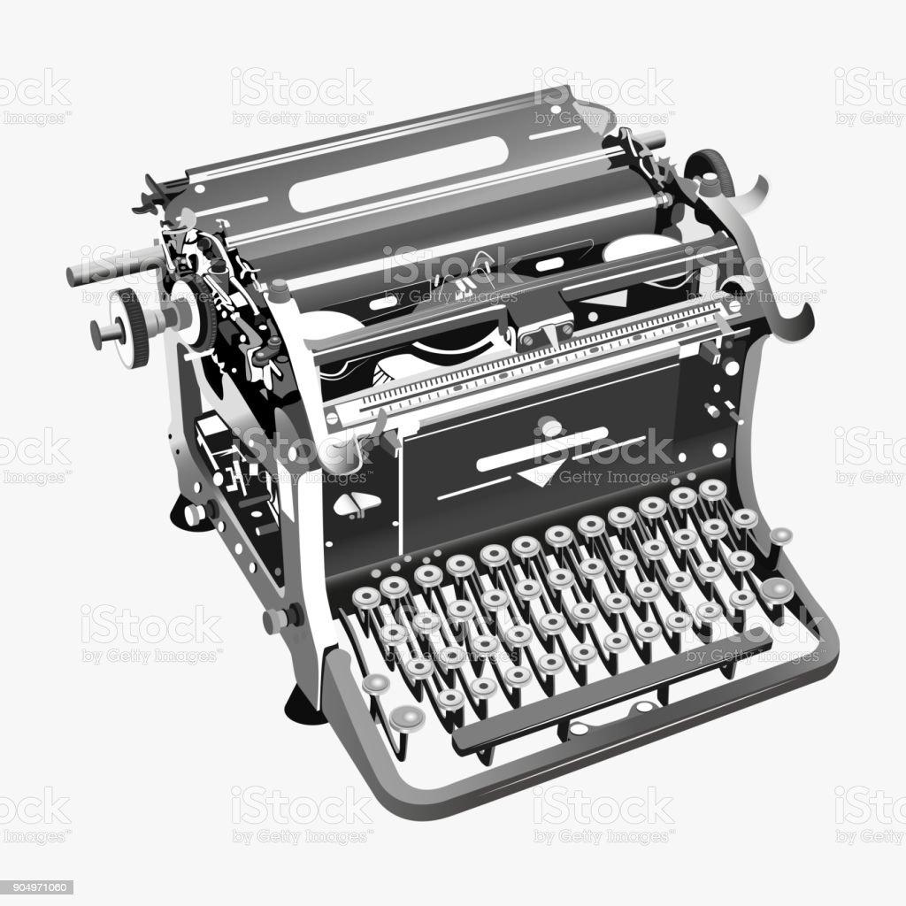 vector illustration of typewriter vector art illustration