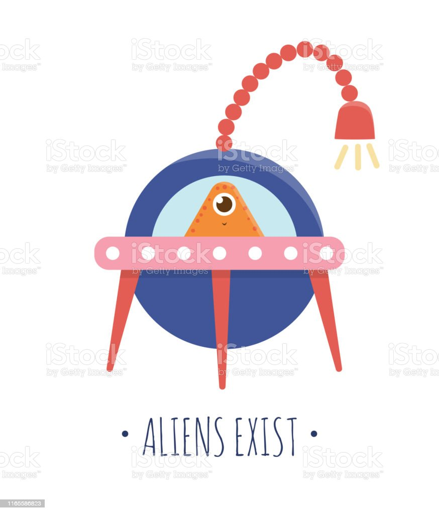 Vector Illustration Of Ufo With Alien Inside For Children Bright And Cute Flat Picture Of Flying Saucer Isolated On White Background Space Concept Stock Illustration Download Image Now Istock