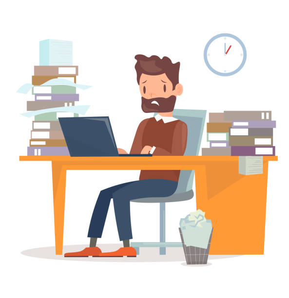 Vector illustration of unhappy tired businessman sitting at the desk with computer and a lot of papers and documents. A lot of work for manager character. Business concept in flat cartoon style. Vector illustration of unhappy tired businessman sitting at the desk with computer and a lot of papers and documents. A lot of work for manager character. Business concept in flat cartoon style overworked stock illustrations