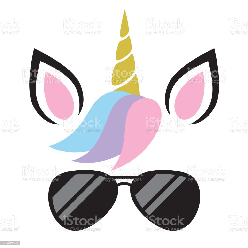Vector Illustration of Unicorn Wearing Sunglasses vector art illustration