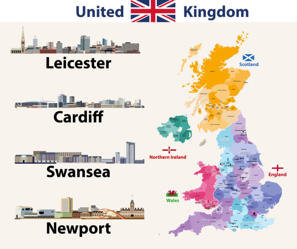 vector illustration of united kingdom cities skylines icons. high detailed map of united kingdom with countries and regions borders. all layers editable, labelled and well organazed - wales stock illustrations, clip art, cartoons, & icons