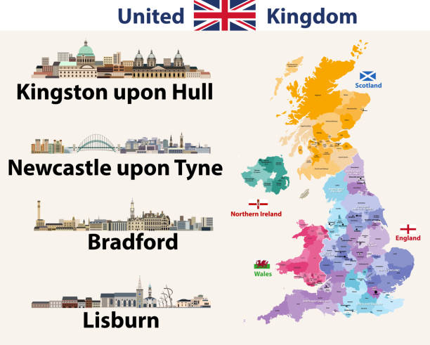 Vector illustration of United Kingdom cities skylines icons. High detailed map of United Kingdom with countries and regions borders. All layers editable, labelled and well organazed Vector illustration of United Kingdom cities skylines icons. High detailed map of United Kingdom with countries and regions borders. All layers editable, labelled and well organazed northeastern england stock illustrations