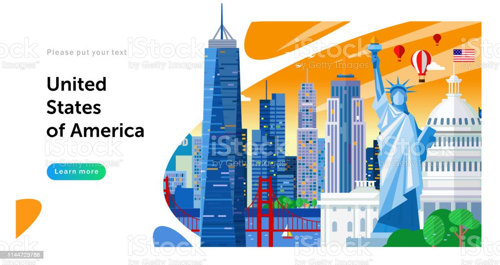vector illustration of United States of America landmarks, travel...