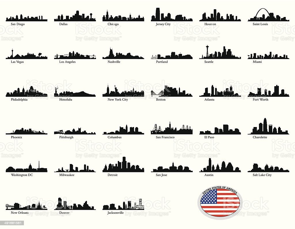 Vector illustration of US cities vector art illustration