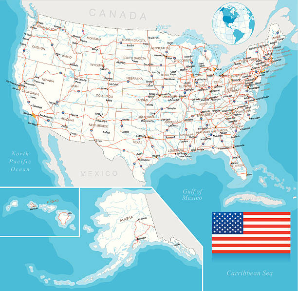 Vector illustration of U.S. highway map, layered Highly detailed map of United States with roads, states, big cities, rivers and some other objects florida us state stock illustrations