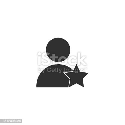 istock Vector illustration of user star sign icon on white background. 1312095989