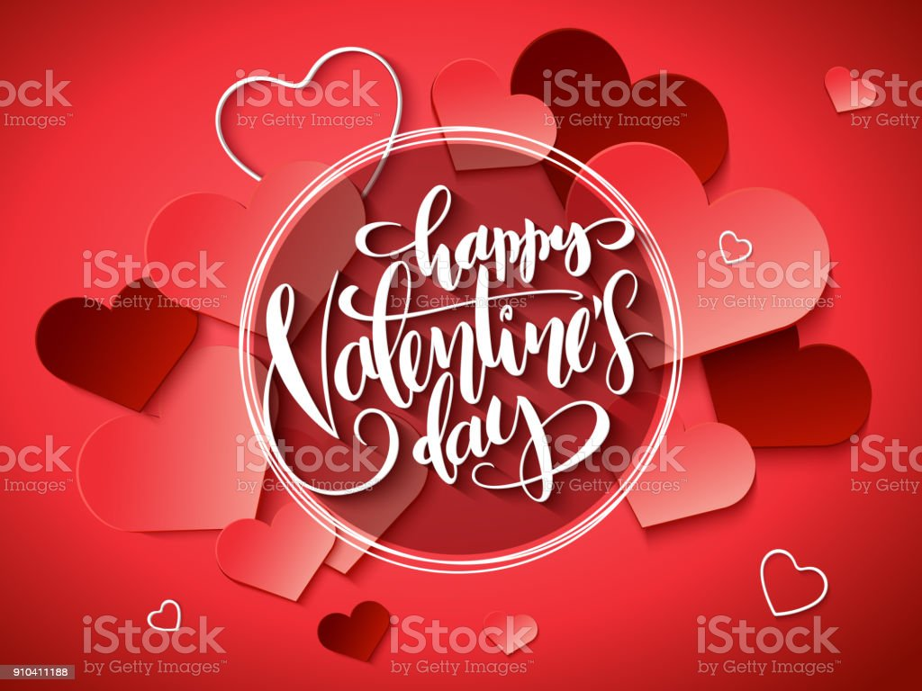 Vector Illustration Of Valentines Day Greetings Card With Hand