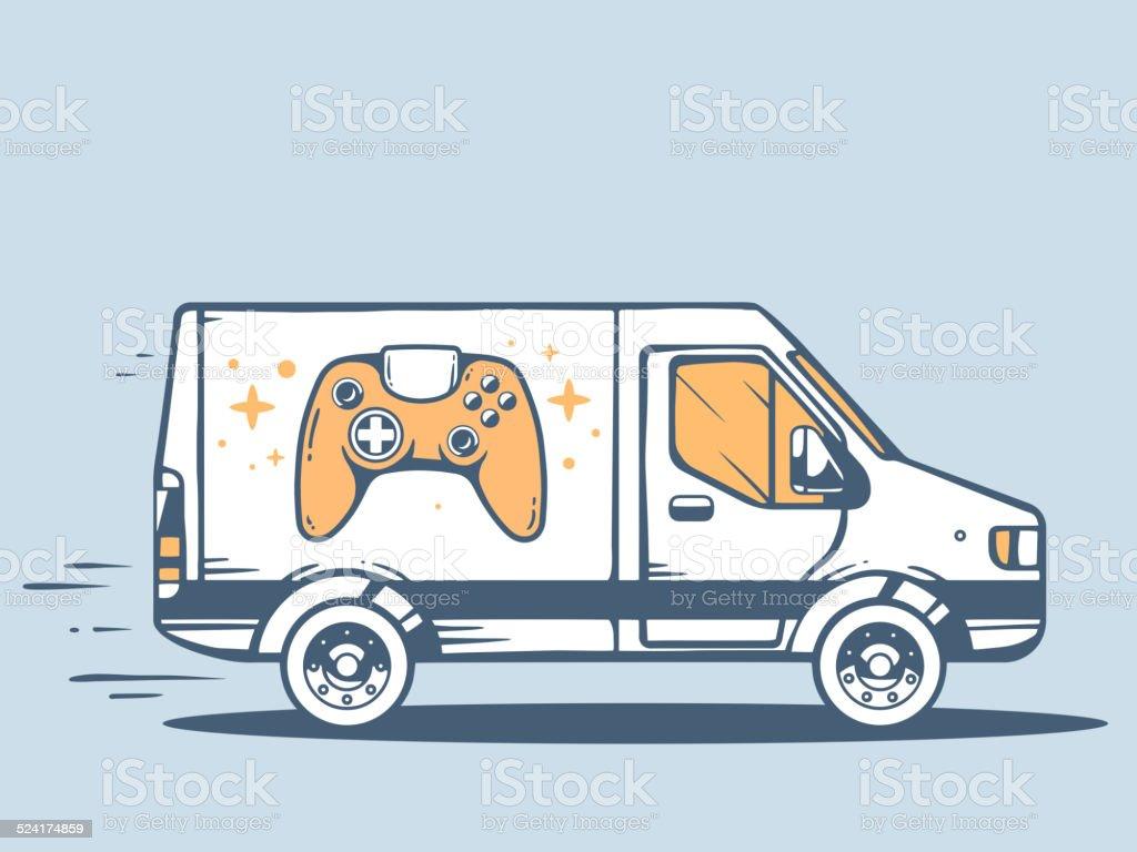 Vector illustration of van free and fast delivering joystick vector art illustration