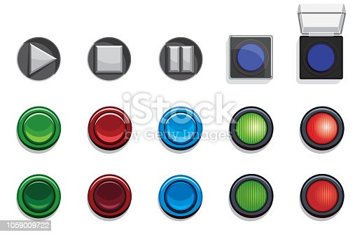 Vector illustration of a set of 3D buttons in up and down states. Includes play, stop and pause buttons, vintage arcade style buttons in up and down states, covered push button, and red and green signal lights