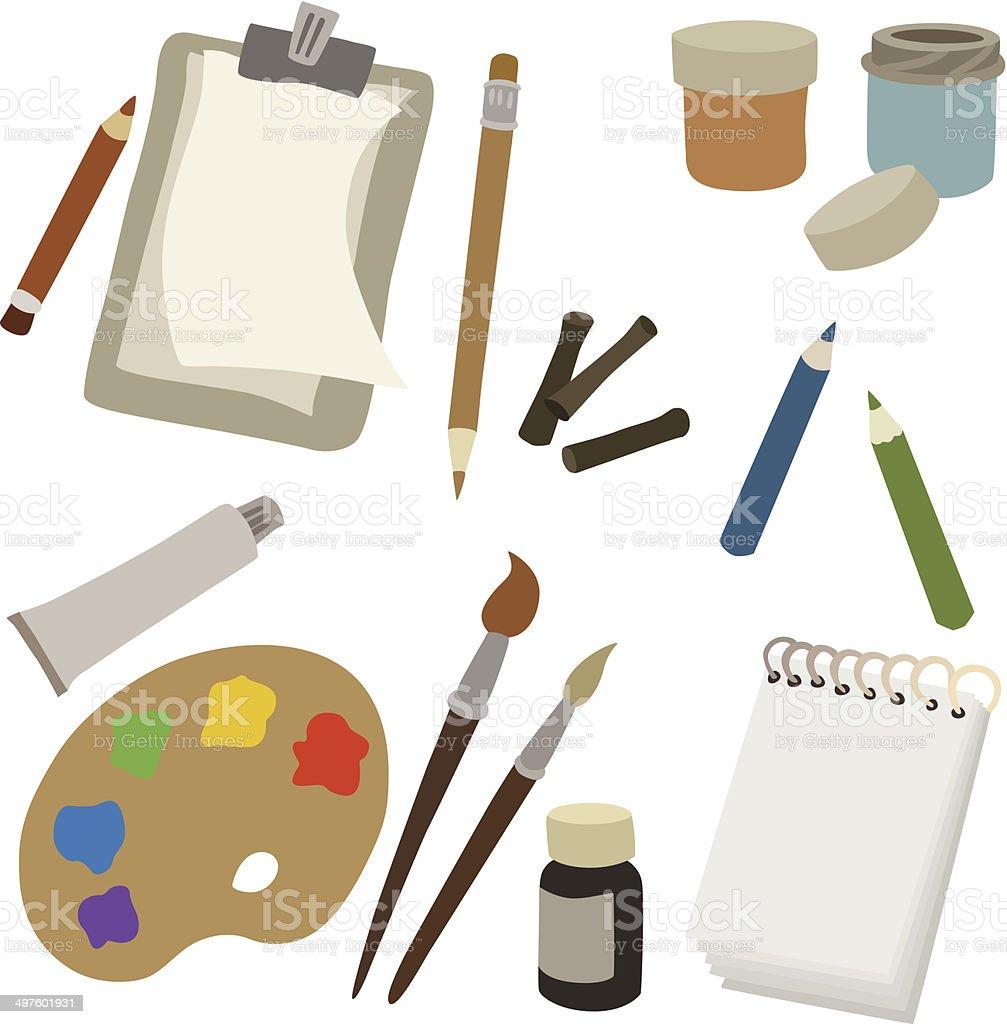 vector illustration of various art supplies vector art illustration