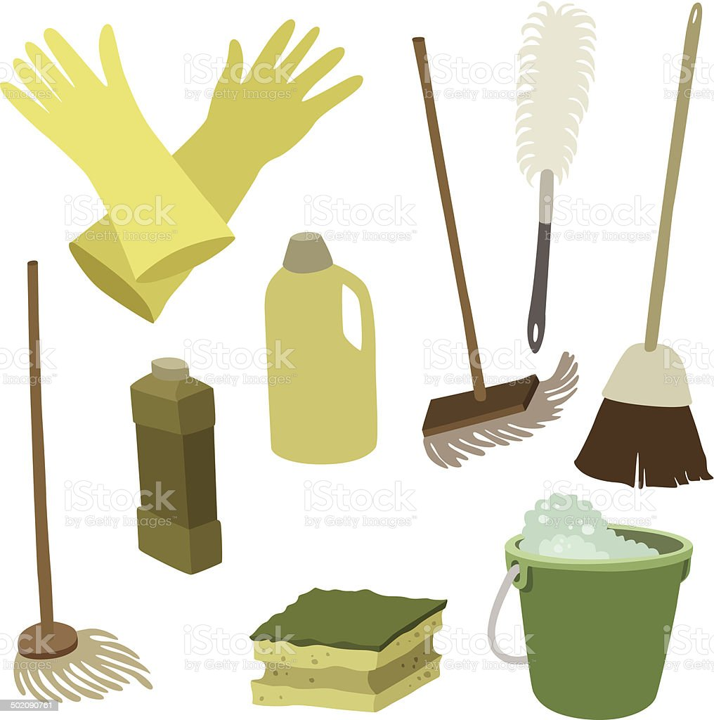 vector illustration of various attributes for cleaning vector art illustration