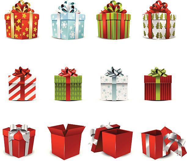 vektor-illustration von verschiedenen urlaub geschenk-boxen - geschenk stock-grafiken, -clipart, -cartoons und -symbole