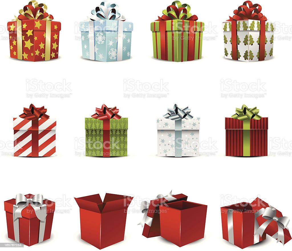 Vector illustration of various holiday gift boxes vector art illustration