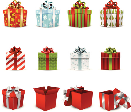 Vector Illustration Of Various Holiday Gift Boxes Stock Illustration - Download Image Now