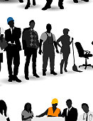 Three groups of silhouettes of men and women of various occupations.  The top group contains eight people, including a painter, female doctor, male doctor, businesswoman, businessman, construction worker and maid.  The second group contains nine people, including a building contractor, female doctor, male architect, businessman, painter, maid, businesswoman, construction worker and male doctor.  The third group contains seven people, including two businessmen, two businesswomen, a construction worker, a male doctor and a painter on a ladder.  The three middle people in the third group are holding a whiteboard, and three of the other people are gesturing toward the whiteboard.