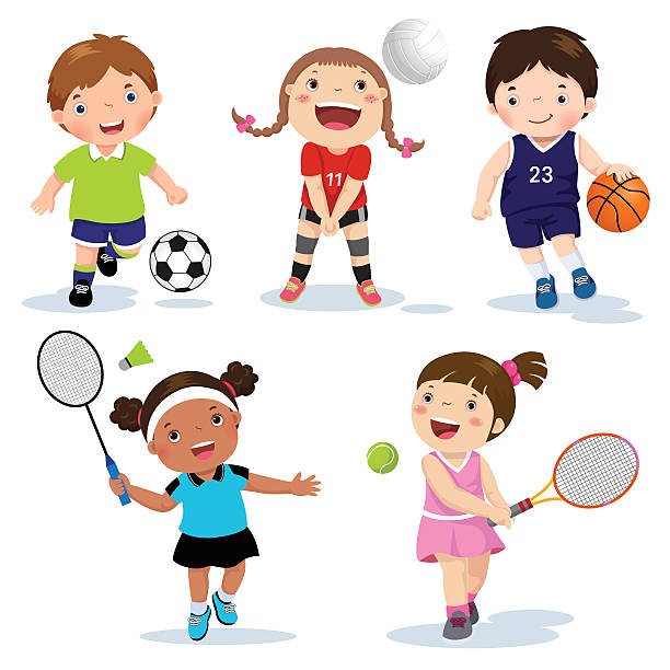 ilustraciones, imágenes clip art, dibujos animados e iconos de stock de vector illustration of various sports kids on a white background - bádminton deporte