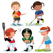 Vector illustration of various sports kids on a white background