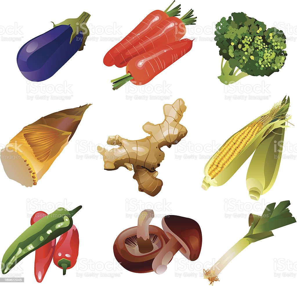 Vector illustration of vegetables set vector art illustration