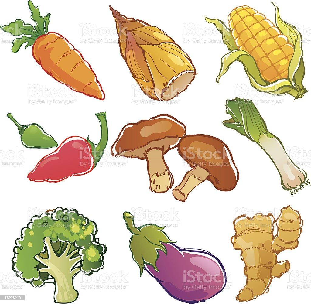 Vector illustration of vegetables set royalty-free stock vector art