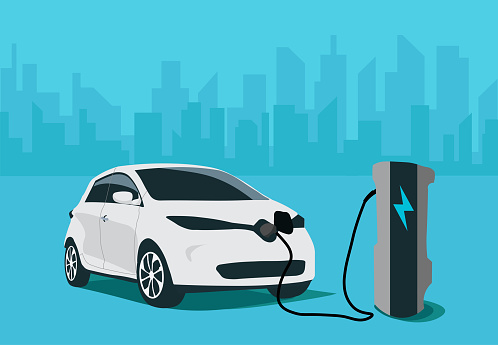 Vector illustration of vehicle charging at electric charging station in city. Vector illustration of white vehicle refilling power. Eco friendly anti oil car illustration.